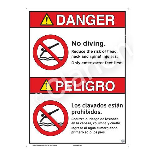 Danger/No Diving Sign (WSS3103-16b-esm) )