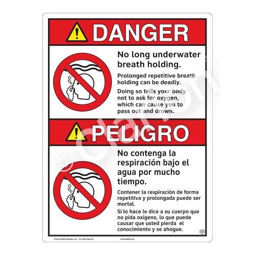 Danger/No Long Breath Holding Sign (WSS3106-16b-esm) )
