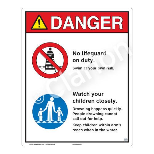 Danger/No Lifeguard on Duty Sign (WSS3201-19b-e) )