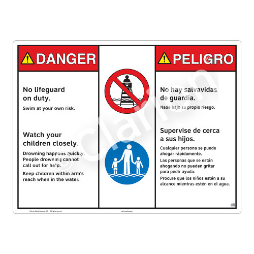 Danger/No Lifeguard on Duty Sign (WSS3201-20b-esm) )