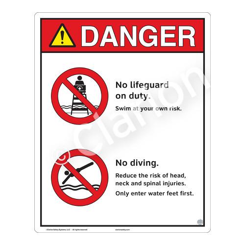 Danger/No Lifeguard on Duty Sign (WSS3202-19b-e) )