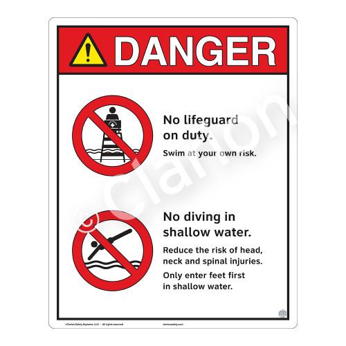 Danger/No Lifeguard on Duty Sign (WSS3203-19b-e) )