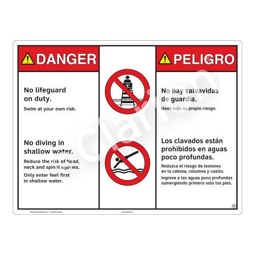 Danger/No Lifeguard on Duty Sign (WSS3203-20b-esm) )