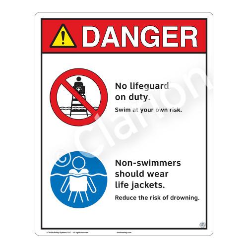 Danger/No Lifeguard on Duty Sign (WSS3204-19b-e) )