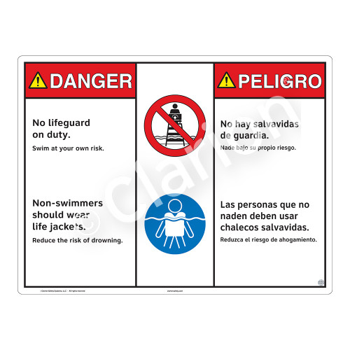 Danger/No Lifeguard on Duty Sign (WSS3204-20b-esm) )
