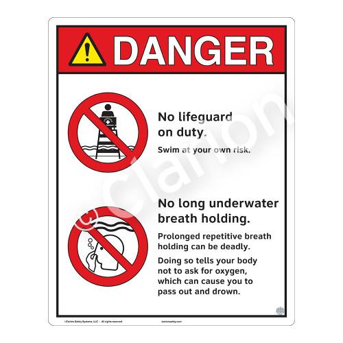 Danger/No Lifeguard on Duty Sign (WSS3205-19b-e) )