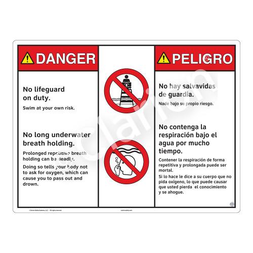 Danger/No Lifeguard on Duty Sign (WSS3205-20b-esm) )
