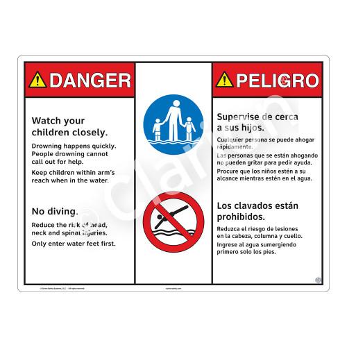Danger/Watch Your Children Sign (WSS3206-20b-esm) )