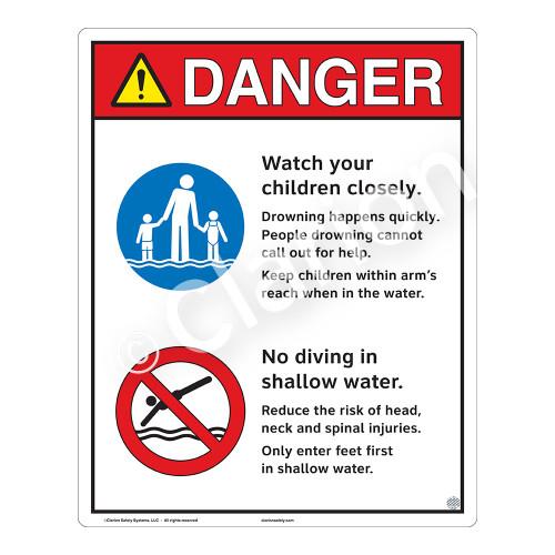 Danger/Watch Your Children Sign (WSS3207-19b-e) )