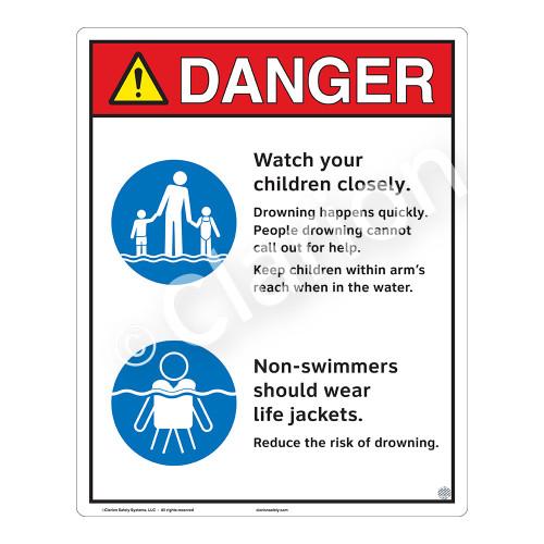 Danger/Watch Your Children Sign (WSS3208-19b-e) )