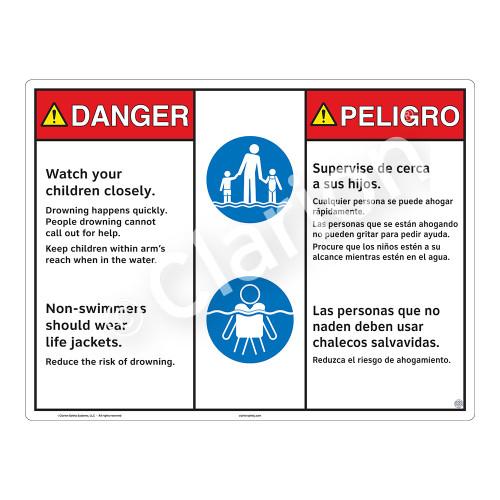 Danger/Watch Your Children Sign (WSS3208-20b-esm) )