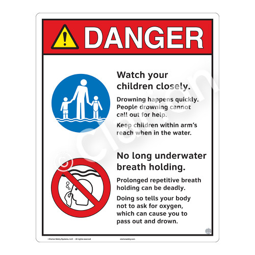Danger/Watch Your Children Sign (WSS3209-19b-e) )