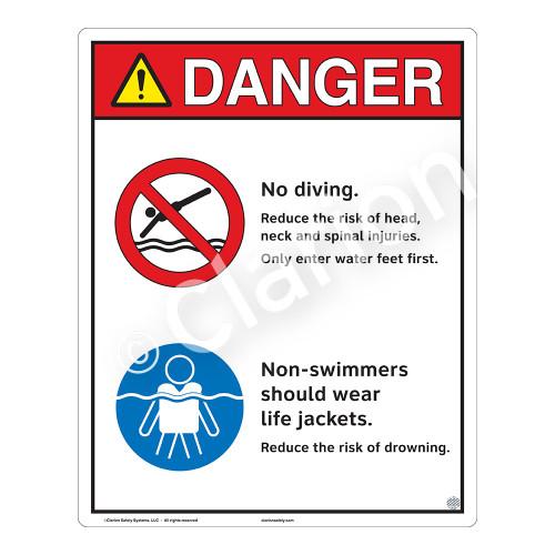 Danger/No Diving Sign (WSS3210-19b-e) )