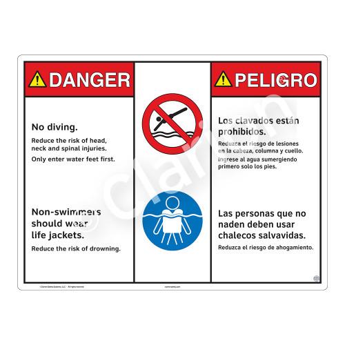 Danger/No Diving Sign (WSS3210-20b-esm) )