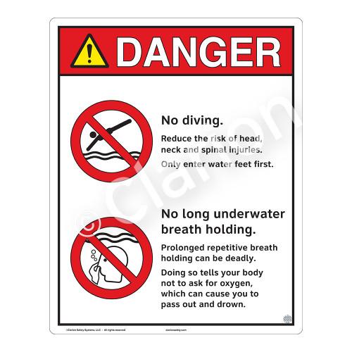 Danger/No Diving Sign (WSS3211-19b-e) )