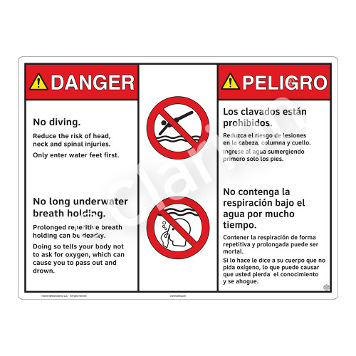 Danger/No Diving Sign (WSS3211-20b-esm) )