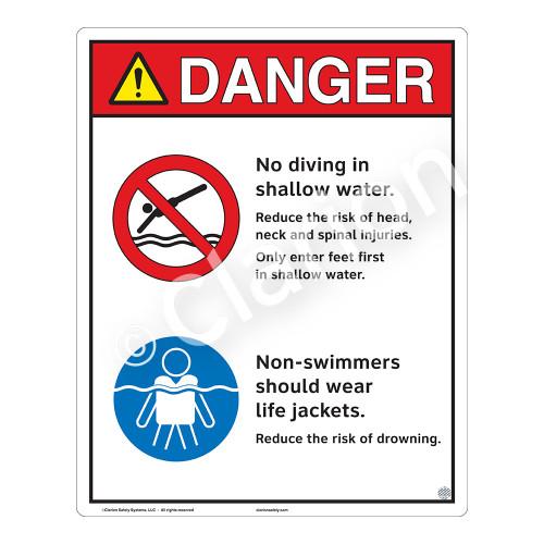 Danger/No Diving Shallow Water Sign (WSS3212-19b-e) )