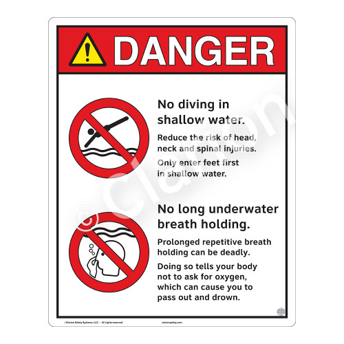 Danger/No Diving in Shallow Water Sign (WSS3213-19b-e) )