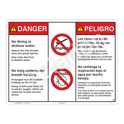 Danger/No Diving in Shallow Water Sign (WSS3213-20b-esm) )