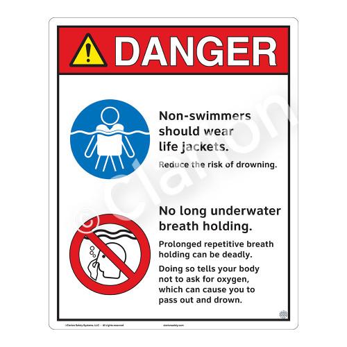 Danger/Non-Swimmers Wear Life Jackets Sign (WSS3214-19b-e) )
