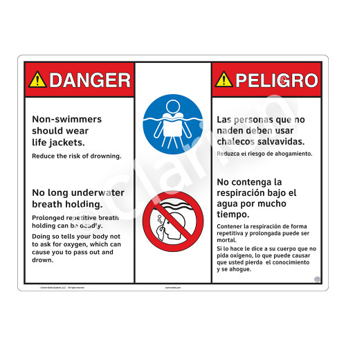 Danger/Non-Swimmers Wear Life Jackets Sign (WSS3214-20b-esm) )