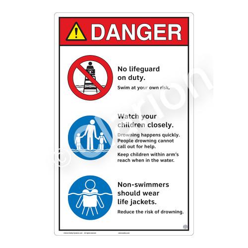 Danger/No Lifeguard on Duty Sign (WSS3303-23b-e) )