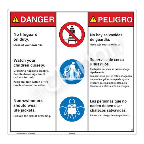 Danger/No Lifeguard on Duty Sign (WSS3303-24b-esm) )