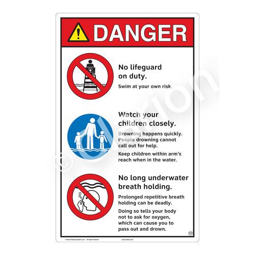 Danger/No Lifeguard on Duty Sign (WSS3304-23b-e) )