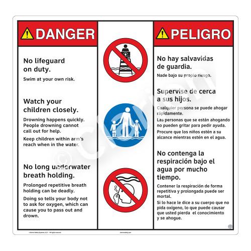 Danger/No Lifeguard on Duty Sign (WSS3304-24b-esm) )