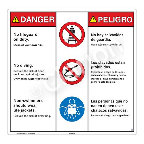 Danger/No Lifeguard on Duty Sign (WSS3305-24b-esm) )