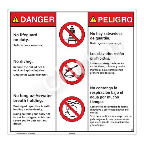 Danger/No Lifeguard on Duty Sign (WSS3306-24b-esm) )