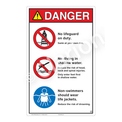 Danger/No Lifeguard on Duty Sign (WSS3307-23b-e) )