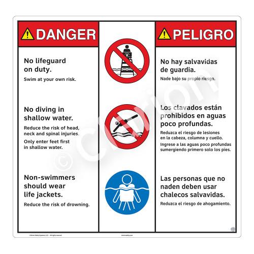 Danger/No Lifeguard on Duty Sign (WSS3307-24b-esm) )