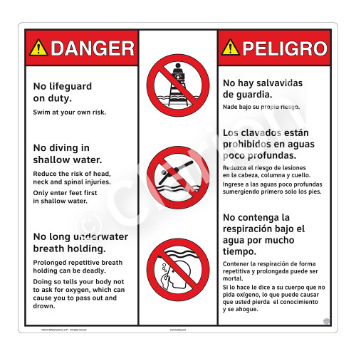 Danger/No Lifeguard on Duty Sign (WSS3308-24b-esm) )