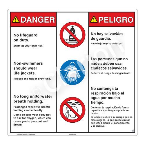 Danger/No Lifeguard on Duty Sign (WSS3309-24b-esm) )