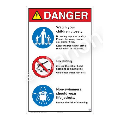 Danger/Watch Your Children Sign (WSS3310-23b-e) )