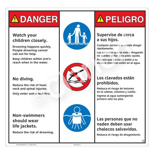 Danger/Watch Your Children Sign (WSS3310-24b-esm) )