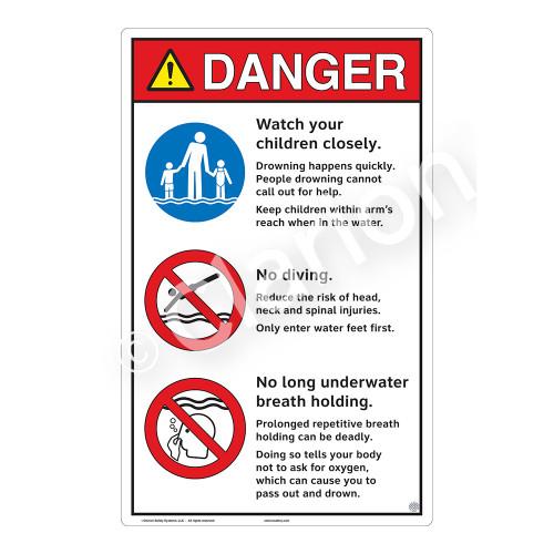 Danger/Watch Your Children Sign (WSS3311-23b-e) )