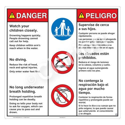 Danger/Watch Your Children Sign (WSS3311-24b-esm) )