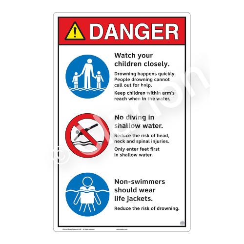 Danger/Watch Your Children Sign (WSS3312-23b-e) )