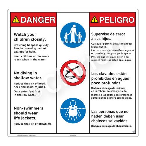 Danger/Watch Your Children Sign (WSS3312-24b-esm) )