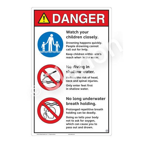 Danger/Watch Your Children Sign (WSS3313-23b-e) )