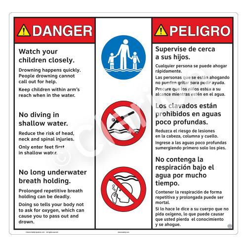 Danger/Watch Your Children Sign (WSS3313-24b-esm) )