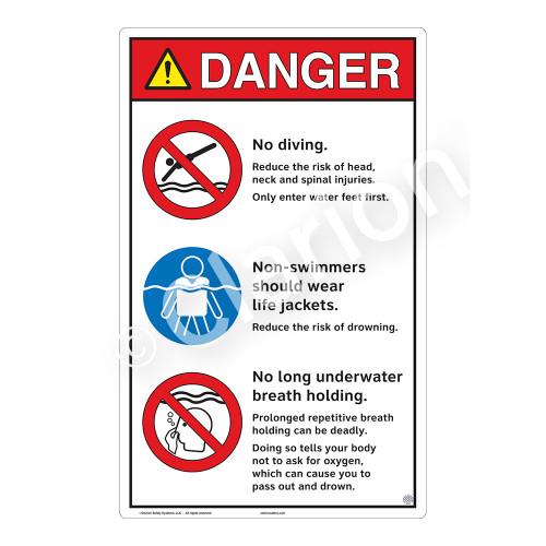 Danger/No Diving Sign (WSS3314-23b-e) )