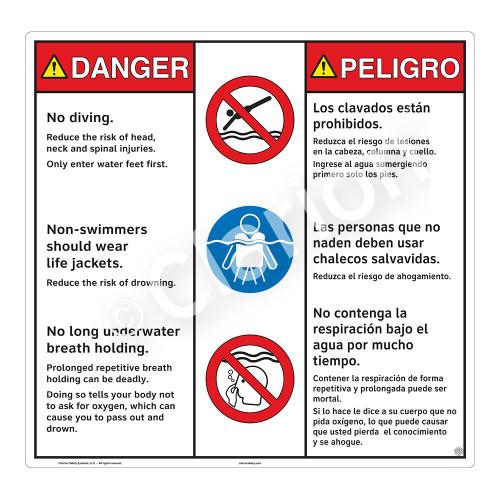 Danger/No Diving Sign (WSS3314-24b-esm) )