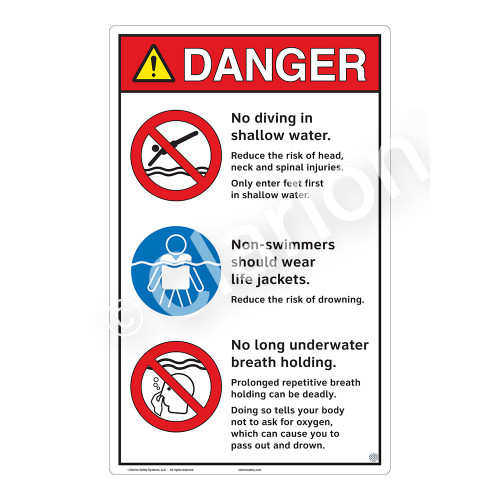 Danger/No Diving in Shallow Water Sign (WSS3315-23b-e) )