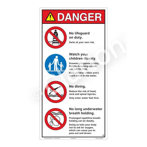 Danger/No Lifeguard on Duty Sign (WSS3402-27b-e) )