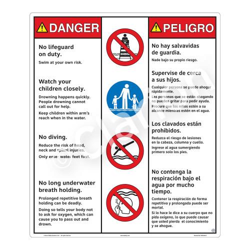 Danger/No Lifeguard on Duty Sign (WSS3402-26b-esm) )