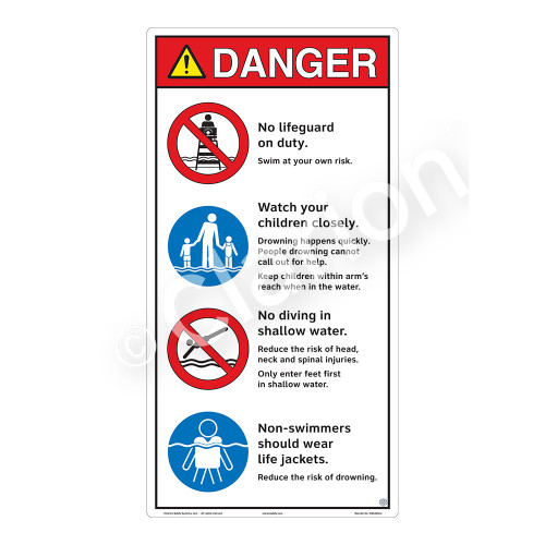 Danger/No Lifeguard on Duty Sign (WSS3403-27b-e) )