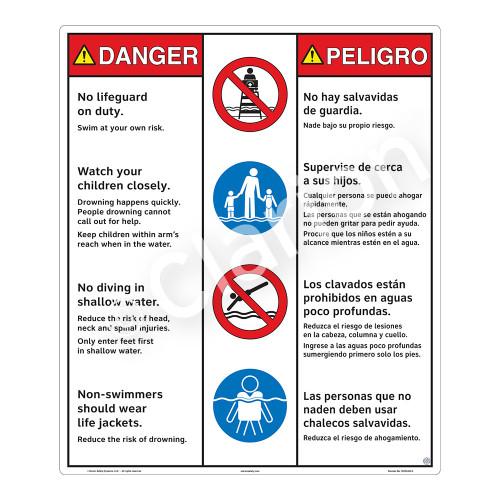Danger/No Lifeguard on Duty Sign (WSS3403-26b-esm) )